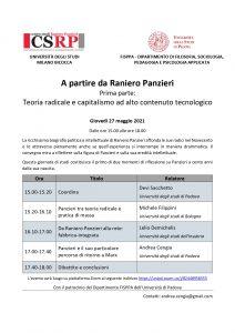 Convegno A partire da Raniero Panzieri